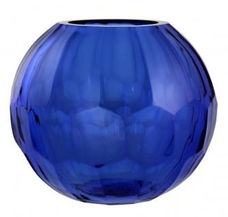 Casa Padrino Glas Vase / Blumenvase Blau Ø 19 x H. 16 cm - Luxus Wohnzimmer Deko