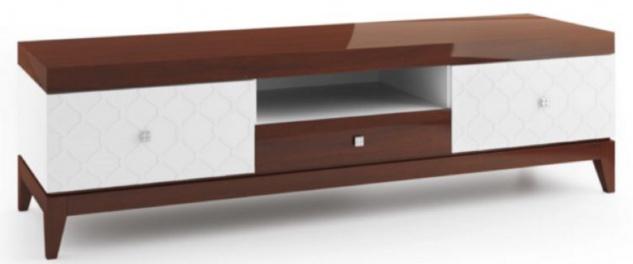 Casa Padrino Luxus Sideboard mit 3 Schubladen Weiß / Hochglanz Braun 171, 4 x 45 x H. 49 cm - Wohnzimmermöbel