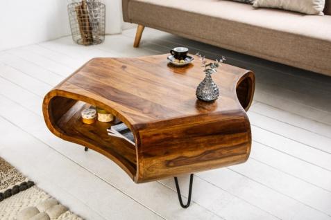 Casa Padrino Designer Massivholz Sheesham Couchtisch Natur Braun 90cm x H.38cm - Salon Wohnzimmer Tisch - Retro Couchtisch - Vorschau 2