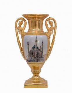 Casa Padrino Luxus Barock Porzellan Vase mit 2 Griffen H. 35, 3 cm - Hotel Vase