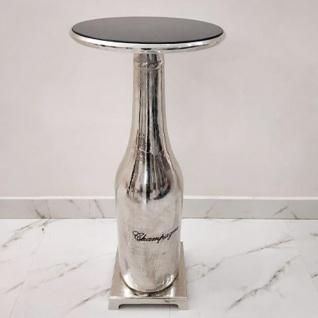 Casa Padrino Luxus Designer Bar Tisch mit Champagner Flaschen Fuß 43 x 43 x H 99cm Aluminium vernickelt - Bartisch
