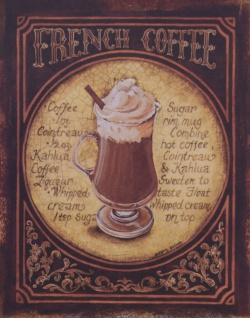 Casa Padrino Deko Zinn Schild / Blechschild French Coffee Mehrfarbig 20 x H. 25 cm - Vintage Retro Metallschild