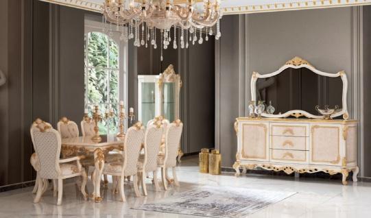 Casa Padrino Luxus Barock Vitrine Beige / Weiß / Gold - Handgefertigter Massivholz Vitrinenschrank - Barock Wohnzimmer Möbel - Vorschau 2
