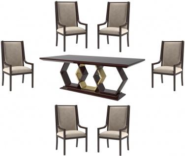 Casa Padrino Luxus Art Deco Esszimmer Set Beige / Dunkelbraun Hochglanz / Gold - 1 Esszimmertisch & 6 Esszimmerstühle - Art Deco Esszimmer Möbel - Luxus Qualität