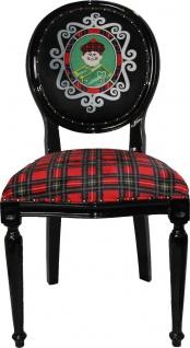 Casa Padrino Barock Luxus Esszimmer Stuhl ohne Armlehnen Schottland Karo / Schwarz Man - Designer Stuhl - Limited Edition