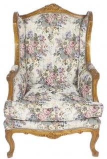 Casa Padrino Barock Ohrensessel Mehrfarbig / Braun 83 x 83 x H. 110 cm - Wohnzimmer Sessel mit Blumenmuster
