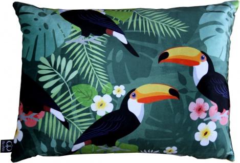 Casa Padrino Luxus Deko Kissen Hawaii Tropical Mehrfarbig 35 x 55 cm - Feinster Samtstoff - Luxus Qualität