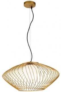 Casa Padrino Luxus Hängeleuchte Gold / Weiß Ø 52 x H. 24 cm - Höhenverstellbare Metall Pendelleuchte mit Glas Lampenschirm