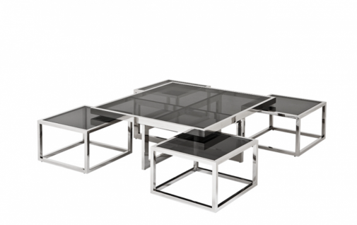 Casa Padrino Luxus Art Deco Designer Couchtisch 5er Set mit Rauchglas - Wohnzimmer Salon Tisch - Luxus Qualität - Vorschau 4