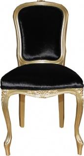 Casa Padrino Luxus Barock Esszimmer Stuhl Gold / Schwarz Mod2 - Luxus Qualität - Hotel Möbel