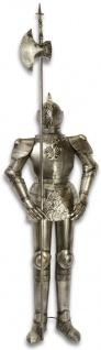 Casa Padrino Ritterrüstung mit Lanze Antik Silber H. 199 cm - Mittelalter Deko Eisen Rüstung