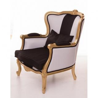 Casa Padrino Luxus Barock Sessel Schwarz / Weiß / Gold Möbel - Luxury Hotel Collection - Vorschau 2
