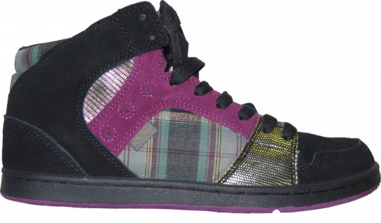 Etnies Skateboard Damen Schuhe Perry Mid Black/ Purple Plaid