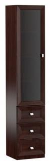 Casa Padrino Luxus Wohnzimmerschrank mit Glastür und 3 Schubladen Dunkelbraun / Silber 45, 4 x 44, 2 x H. 225, 6 cm - Luxus Qualität
