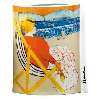 """Handgearbeitete Vase aus Porzellan mit einem Motiv von T. Lautrec """" Promenade En Yacht"""", oval, Höhe 28 cm - feinste Qualität aus der Tettau Porzellanfabrik - wunderschöne Vase"""