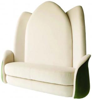Casa Padrino Luxus Designer Sitzbank Lotusblume Cremefarben / Grün 162 x 64 x H. 170 cm - Edle gepolsterte Samt Bank mit hoher Rückenlehne - Hotel Möbel - Luxus Qualität - Made in Italy