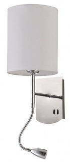 Casa Padrino Wandleuchte Silber / Creme 16 x 16 x H. 35 cm - Wandlampe mit flexiblem Leselicht
