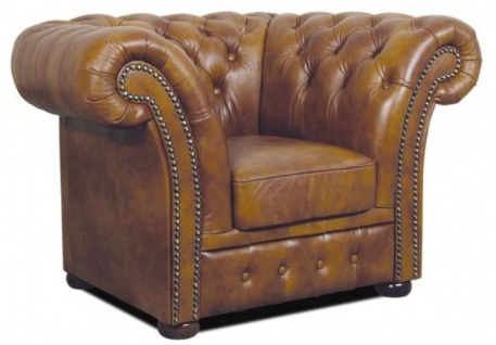 Casa Padrino Chesterfield Echtleder Sessel Braun 110 x 90 x H. 80 cm - Luxus Wohnzimmermöbel