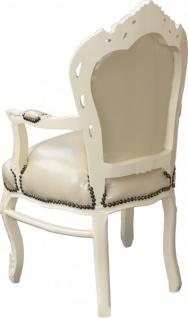 Casa Padrino Barock Esszimmerstuhl mit Armlehnen Creme / Creme - Möbel Barock Stuhl - Vorschau 2