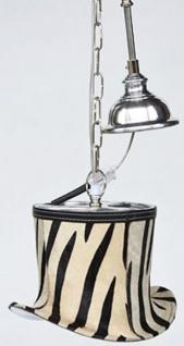Casa Padrino Designer Hängeleuchte Schwarz / Weiß / Silber 26 x 21 x H. 18 cm - Pendelleuchte mit dekorativem Hut Lampenschirm im Zebra Look