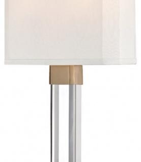 Casa Padrino Luxus Wandleuchte Antik Messingfarben / Weiß 22, 9 x 10, 2 x H. 54, 6 cm - Moderne Wandlampe mit Kristallglas und Seiden Lampenschirm - Vorschau 2