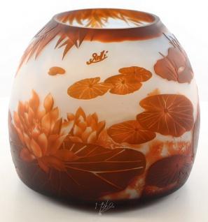 Casa Padrino Luxus Glas Deko Vase Lilienteich Mehrfarbig Ø 29, 2 x H. 24, 5 cm - Cameoglas Blumenvase