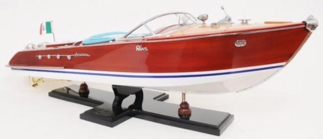 Casa Padrino Luxus Holzboot Speedboot Riva Aquarama Mehrfarbig 88, 9 x 26 x H. 24, 1 cm - Handgefertigtes Deko Modellboot Schiff Boot