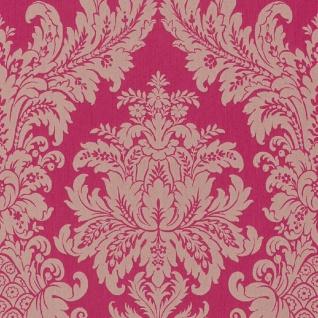 Casa Padrino Barock Textiltapete Pink / Beige 10, 05 x 0, 53 m - Luxus Wohnzimmer Tapete