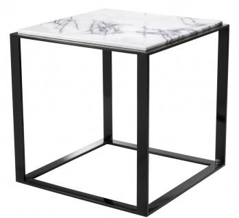 Casa Padrino Luxus Beistelltisch Hochglanzschwarz / Weiß-Lila 56 x 56 x H. 56 cm - Edelstahl Tisch mit Marmorplatte - Luxus Wohnzimmer Möbel