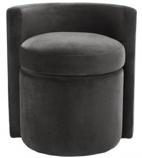 Casa Padrino Designer Sessel Dunkelgrau 61 x 57 x H. 64 cm - Runder Samt Sessel - Luxus Möbel - Vorschau 2