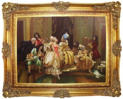 Casa Padrino Barock Ölgemälde Das Fest Mehrfarbig / Gold 160 x 10 x H. 130 cm - Handgemaltes Gemälde mit prunkvollem Rahmen im Barockstil - Barock Möbel