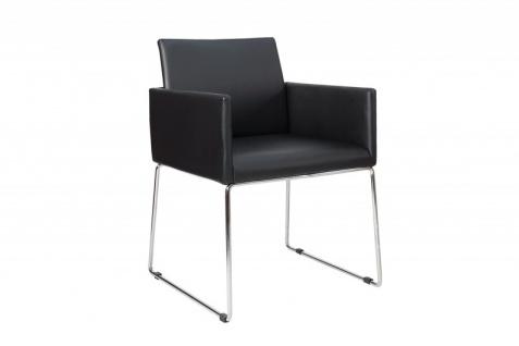 Casa Padrino Designer Stuhl Schwarz mit Armlehnen 55cm x 80cm x 60cm - Büromöbel