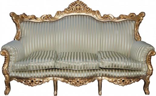 Casa Padrino Barock 3er Sofa Master Jadegrün/Beige / Gold Mod3 - Wohnzimmer Couch Möbel Lounge