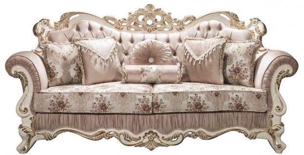 Casa Padrino Luxus Barock Sofa Rosa / Weiß / Gold 230 x 100 x H. 110 cm - Wohnzimmer Sofa mit Glitzersteinen und dekorativen Kissen - Barockmöbel
