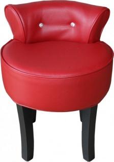 Casa Padrino Designer Hocker Rot / Schwarz mit Bling Bling Steinen - Barock Schminktisch Stuhl