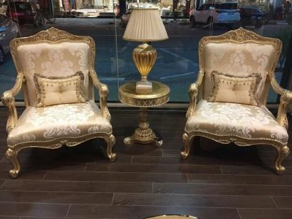 Casa Padrino Luxus Barock Sessel Gold / Antik Gold - Prunkvoller Wohnzimmer Sessel mit elegantem Muster - Barock Wohnzimmer Möbel - Vorschau 2