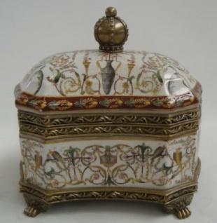 Casa Padrino Barock Porzellan Schmuckkasten Antik Messingfarben / Mehrfarbig H. 20 cm - Schmuckschatulle mit Deckel