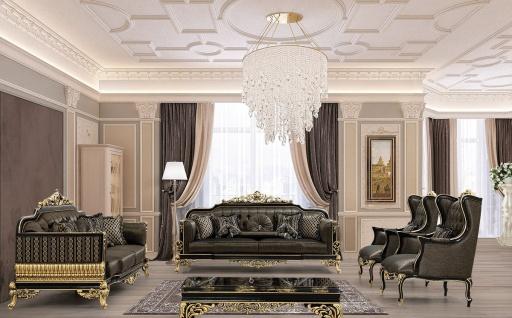 Casa Padrino Luxus Barock Wohnzimmer Set Grau / Schwarz / Gold - 2 Sofas & 2 Sessel & 1 Couchtisch - Prunkvolle Barock Wohnzimmer Möbel