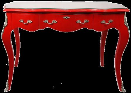 Casa Padrino Barock Schreibtisch Sekretär / Konsole Rot mit Glasplatte 120 x 60 x H80 cm - Barock Möbel