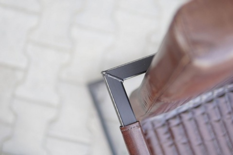 Casa Padrino Vintage Industrial Echtleder Armlehnstuhl Industrie Stuhl - ALLE FARBEN - Luxus Sessel Industrie Armlehner Design Möbel Büffelleder - Vorschau 2
