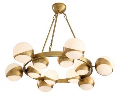 Casa Padrino Luxus Kronleuchter Antik Messingfarben / Weiß Ø 96 x H. 73 cm - Luxus Möbel