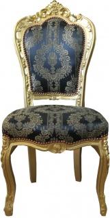Casa Padrino Barock Esszimmer Stuhl Blau Muster / Gold - Antik Möbel - Mod2