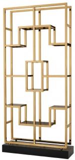 Casa Padrino Luxus Regalschrank Messing / Schwarz 108 x 29 x H. 240 cm - Edelstahl Wohnzimmerschrank mit 10 Glasregalen - Luxus Wohnzimmer Möbel - Vorschau 2
