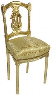 Casa Padrino Barock Damen Stuhl mit elegantem Muster Gold 40 x 35 x H. 85 cm - Handgefertigter Antik Stil Stuhl - Barock Möbel