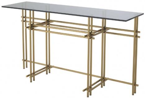 Casa Padrino Designer Konsole Messingfarben / Grau 131 x 36, 5 x H. 73 cm - Edelstahl Konsolentisch mit Glasplatte - Designer Möbel - Luxus Qualität