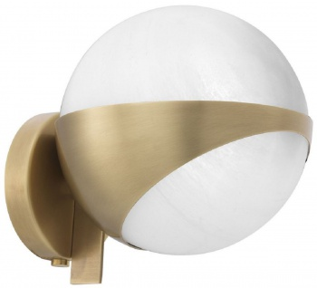 Casa Padrino Luxus Wandleuchte Antik Messingfarben / Weiß 14 x 18 x H. 19 cm - Elegante Metall Wandlampe mit rundem Glas Lampenschirm - Vorschau 2