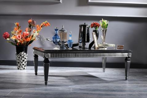 Casa Padrino Luxus Barock Couchtisch Schwarz / Silber 130 x 79 x H. 43 cm - Wohnzimmertisch im Barockstil