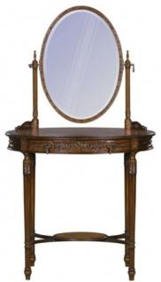 Casa Padrino Luxus Barock Schminktisch Dunkelbraun / Braun 80 x 57 x H. 142 cm - Ovaler Schminktisch im Barockstil - Vorschau 4