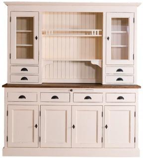 Casa Padrino Landhausstil Küchenschrank Antik Cremefarben / Braun 179 x 50 x H. 197 cm - 2 Teiliger Shabby Chic Küchenschrank mit 6 Türen und 8 Schubladen