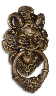 Casa Padrino Türklopfer Barock Devil Face Gusseisen Bronzefarben 32.7 cm - Antik Jugendstil Gründerzeit